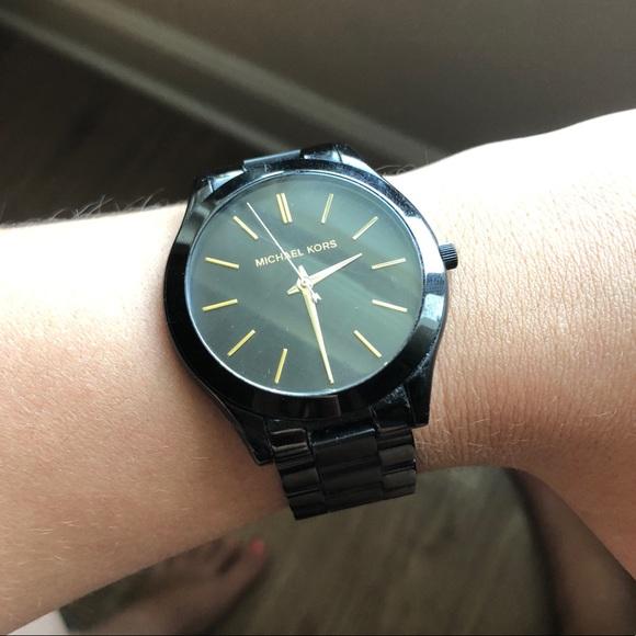 Michael Kors Accessories - Michael Kors Slim Runway Black Watch